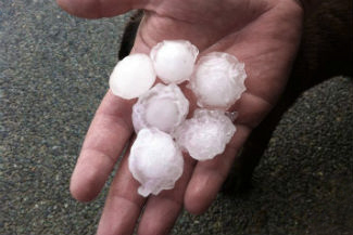 Hail stone from Gold Coast storm in Nov 2013